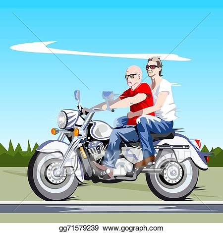 Motorcycle clipart couple. Vector riding a
