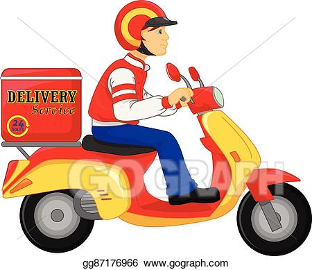Motorcycle clipart delivery. Eps vector boy ride
