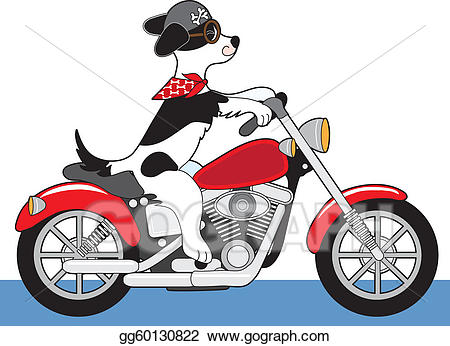 Vector illustration . Motorcycle clipart dog