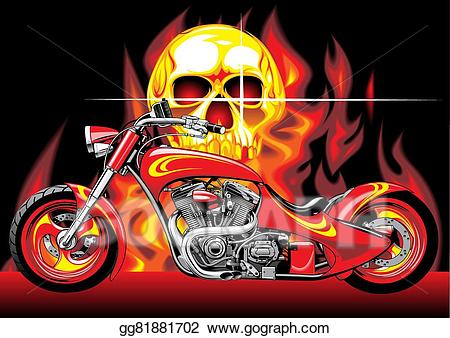 Motorcycle clipart fire. Eps illustration motorbike and