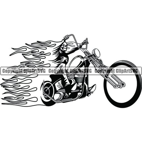 Motorcycle clipart fire. Skull skeleton flames custom