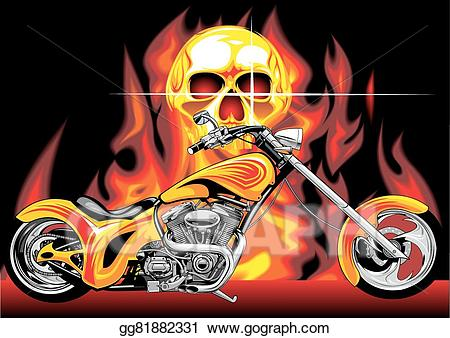 Eps illustration motorbike and. Motorcycle clipart fire