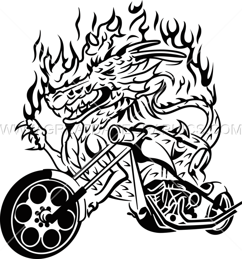 Dragon Motorcycle | Production Ready Artwork for T-Shirt Printing