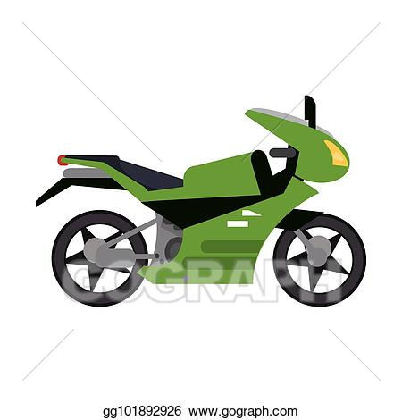 Motorcycle clipart green motorcycle. Vector illustration transport style
