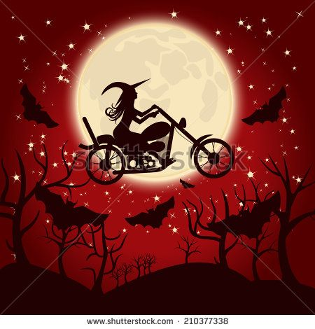 Motorcycle clipart halloween. Witch on a stock
