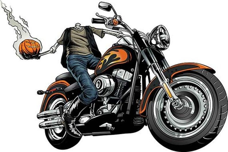 Biker pumpkin headless horseman. Motorcycle clipart halloween