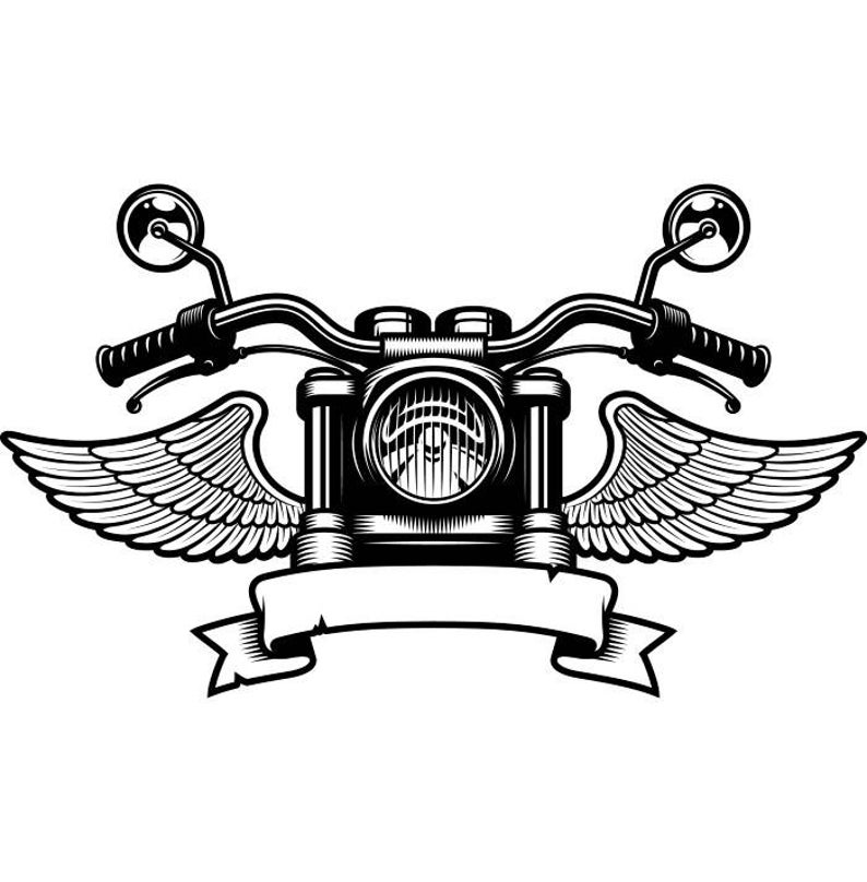 Handle bars wings bike. Motorcycle clipart logo