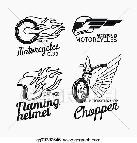 Motorcycle clipart logo. Eps vector race set