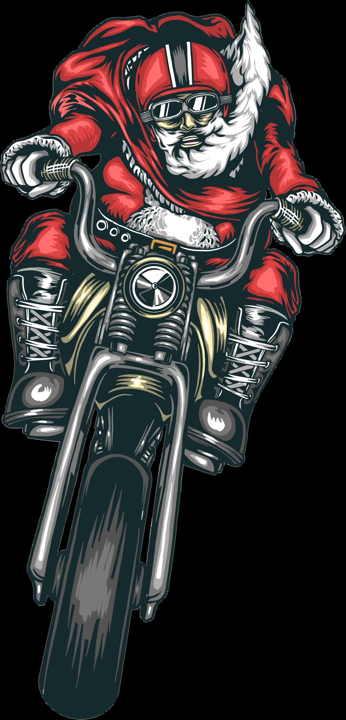 Motorcycle clipart motorcycle drawing. Santa big image png