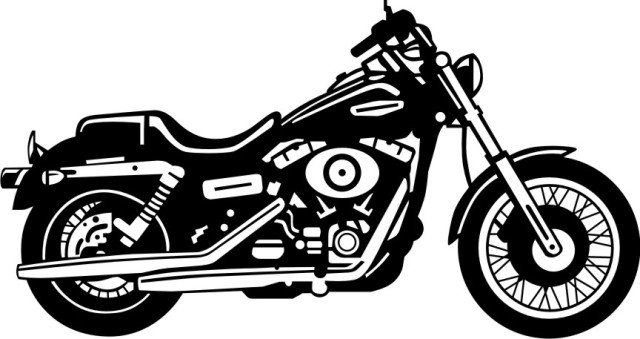 Motorcycle clipart motorcycle harley davidson. Black and white