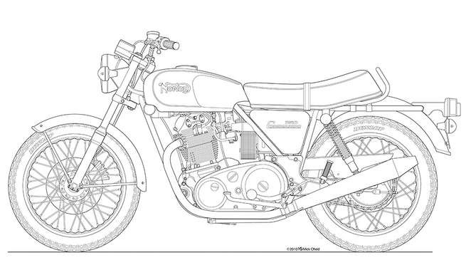 Commando roadster line drawing. Motorcycle clipart norton motorcycle