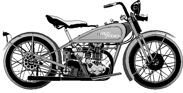 Black and white harley. Motorcycle clipart old school