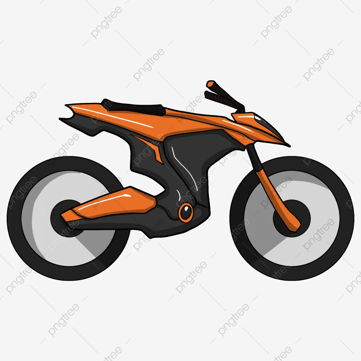 Car vehicle hand drawn. Motorcycle clipart orange