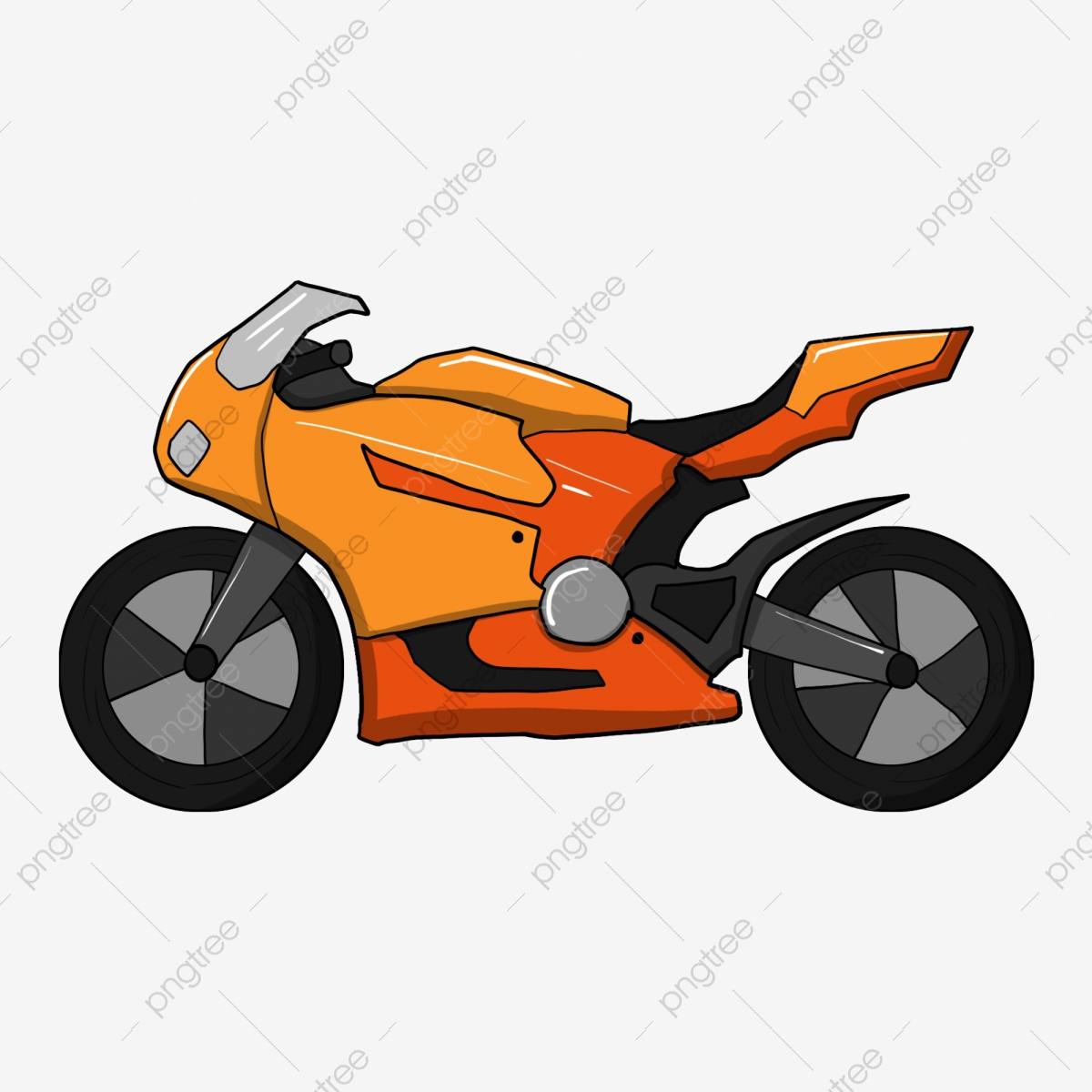 Motorcycle clipart orange. Red locomotive hand painted