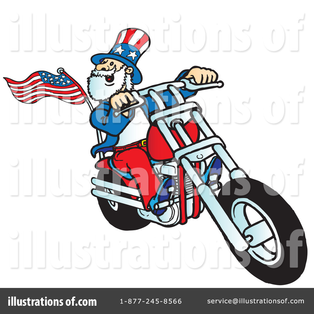 Illustration by snowy . Motorcycle clipart patriotic