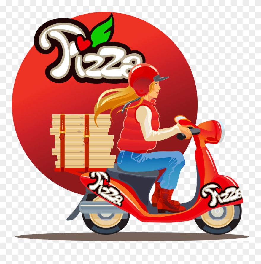 Beauty delivery . Motorcycle clipart pizza