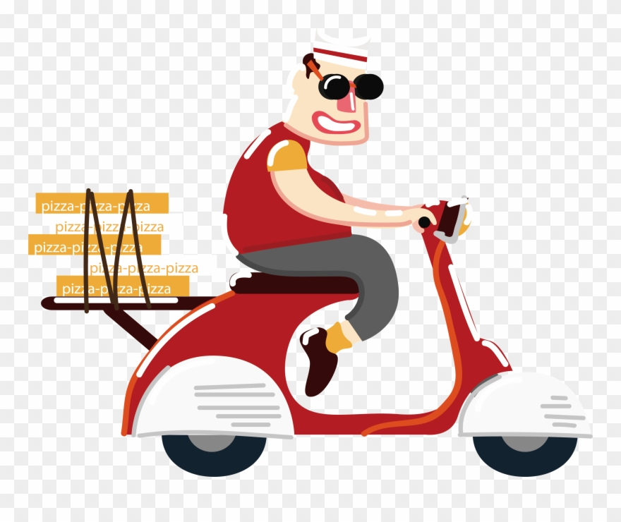 Motorcycle clipart pizza. Fast food ride a