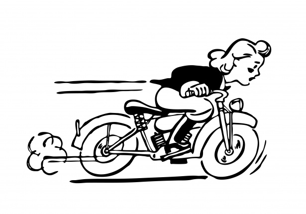 Lady riding motorbike free. Motorcycle clipart public domain