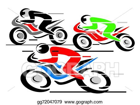 Vector stock motorcycle illustration. Race clipart racing motorbike