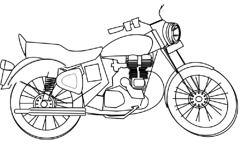 Motorcycle Clipart Black And White Free