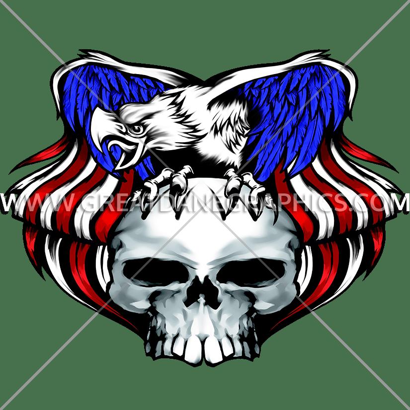 Eagle Skull | Production Ready Artwork for T-Shirt Printing