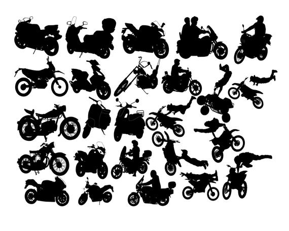 Motorcycle clipart toy motorcycle. Silhouette rider vehicles chopper