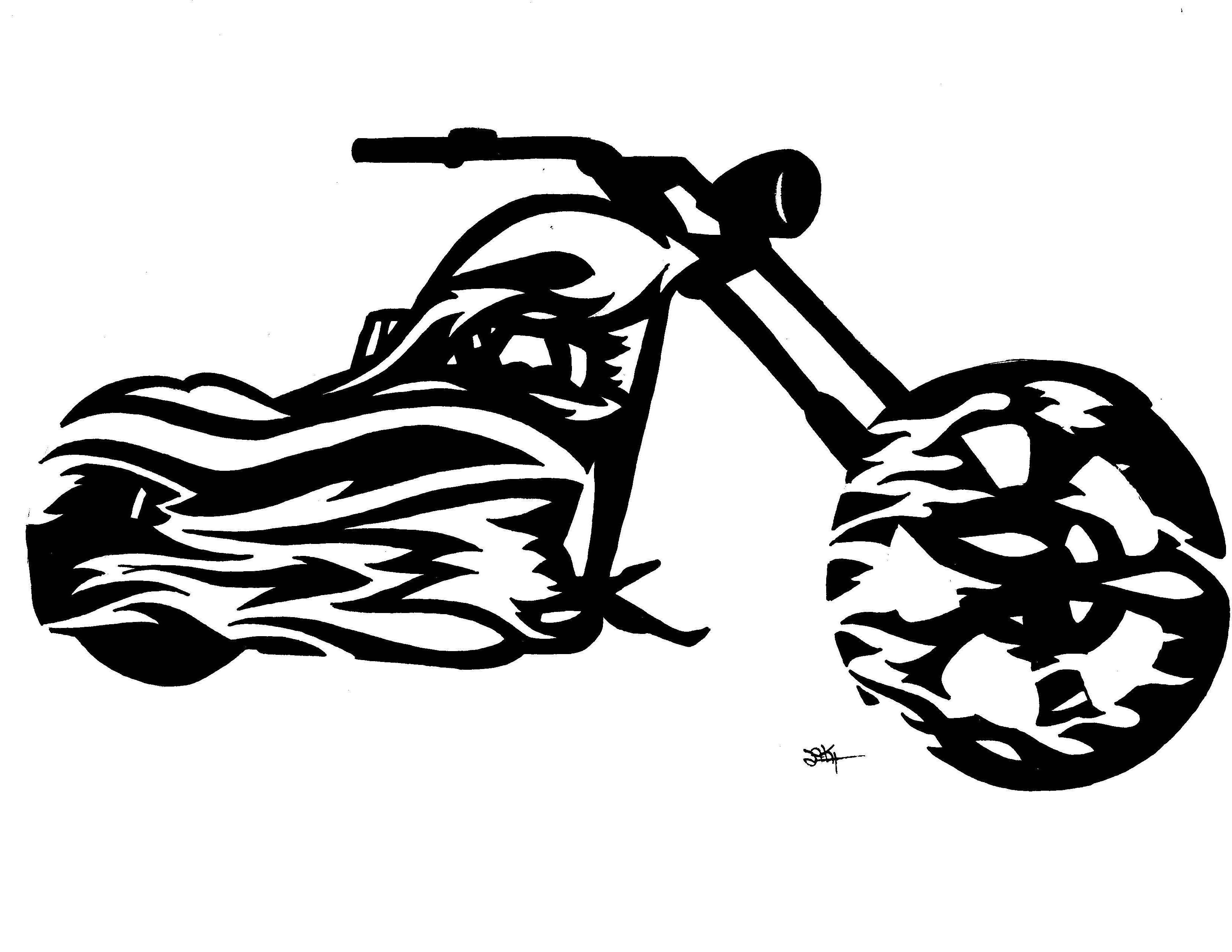 Free download clip art. Motorcycle clipart tribal