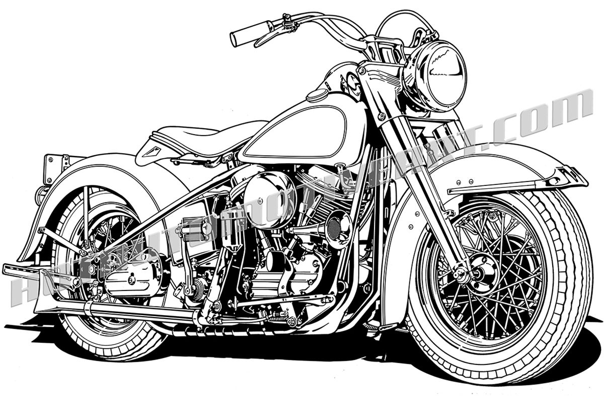 View vector art bike. Motorcycle clipart vintage motorcycle