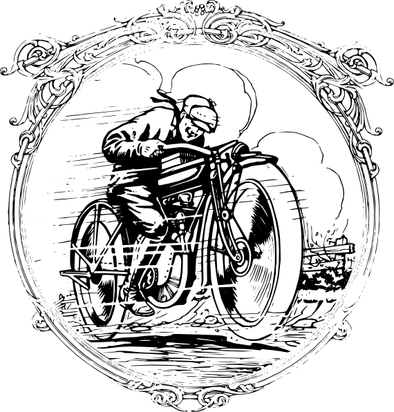 In a frame clip. Motorcycle clipart vintage motorcycle