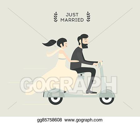 Vector stock couple on. Motorcycle clipart wedding