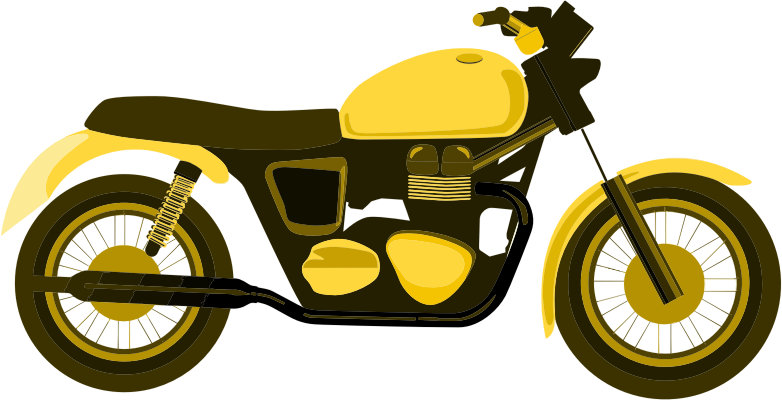 Motorcycle clipart yellow motorcycle. Medium image png
