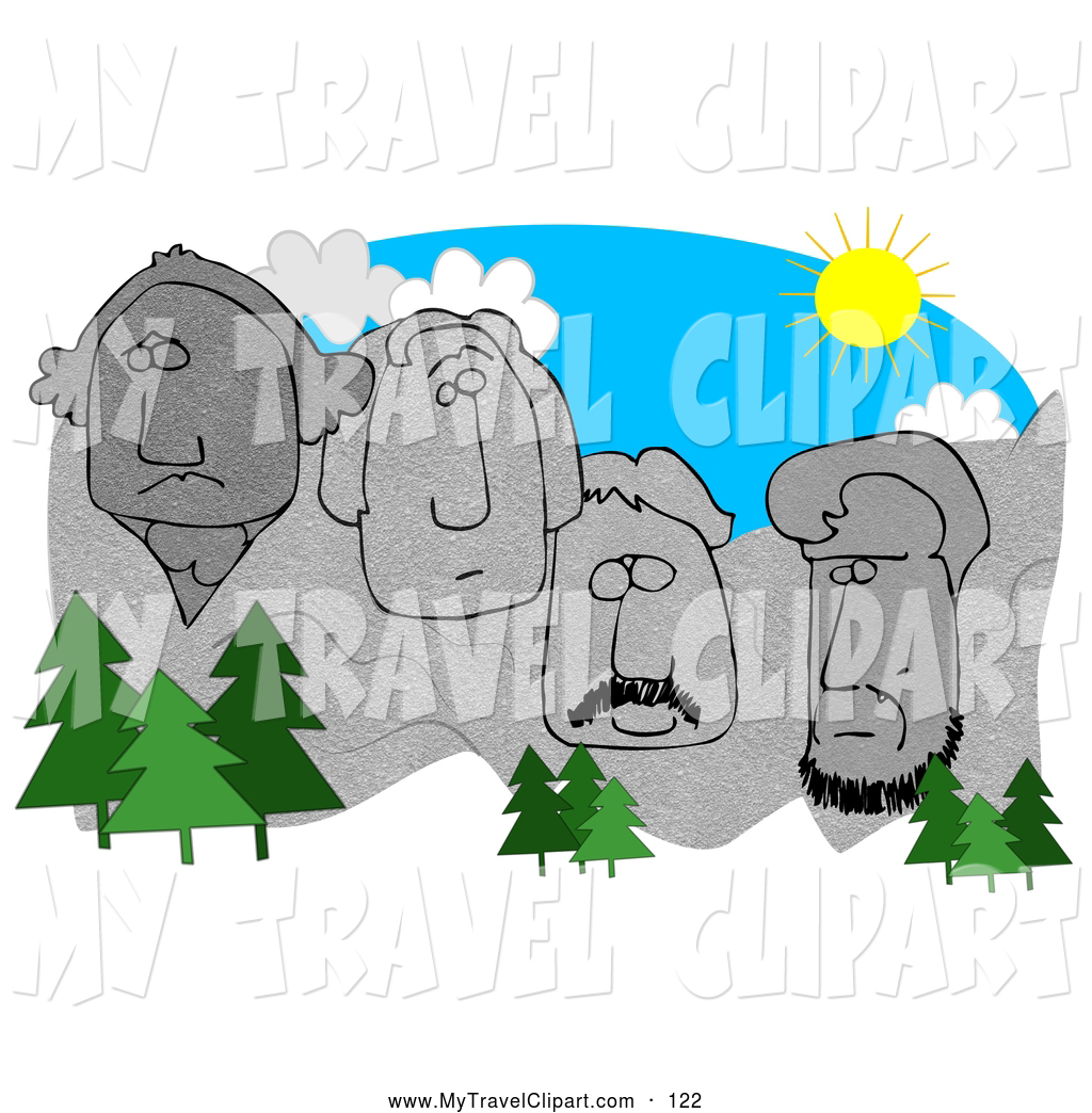 Mount rushmore clipart. Of a cluster evergreen