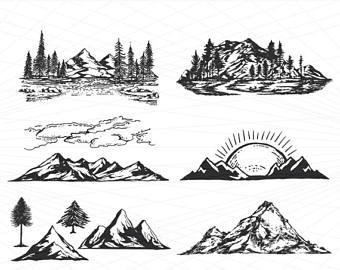 Mountain clipart. Etsy hand drawn svg