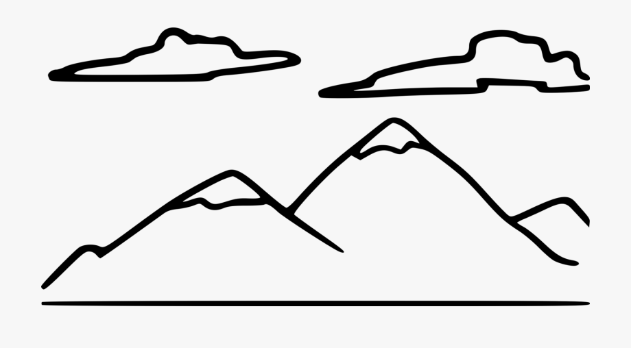 Mountain clipart drawing. Black and white diagram