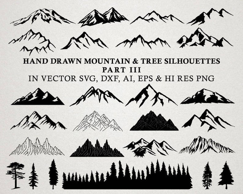 Mountain clipart moutain. Hand drawn silhouette nature