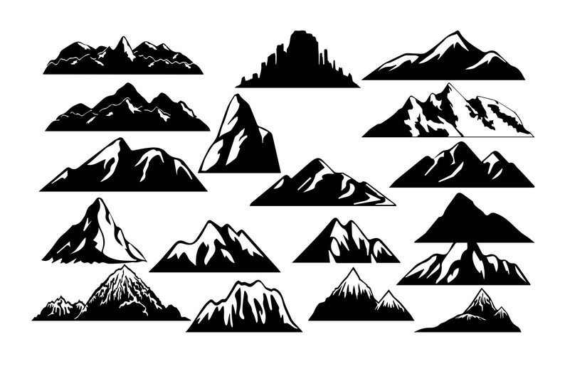 Mountain clipart moutain. Silhouette svg cut files