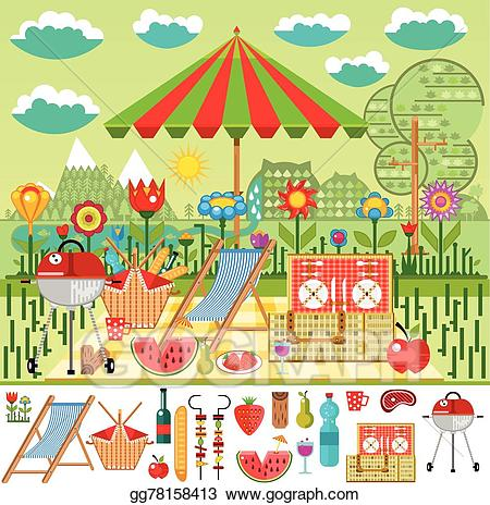 Vector art summer in. Mountain clipart picnic
