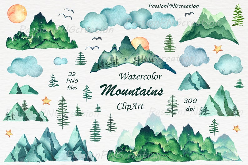 Mountains clipart watercolor. Png hand painted watercolour