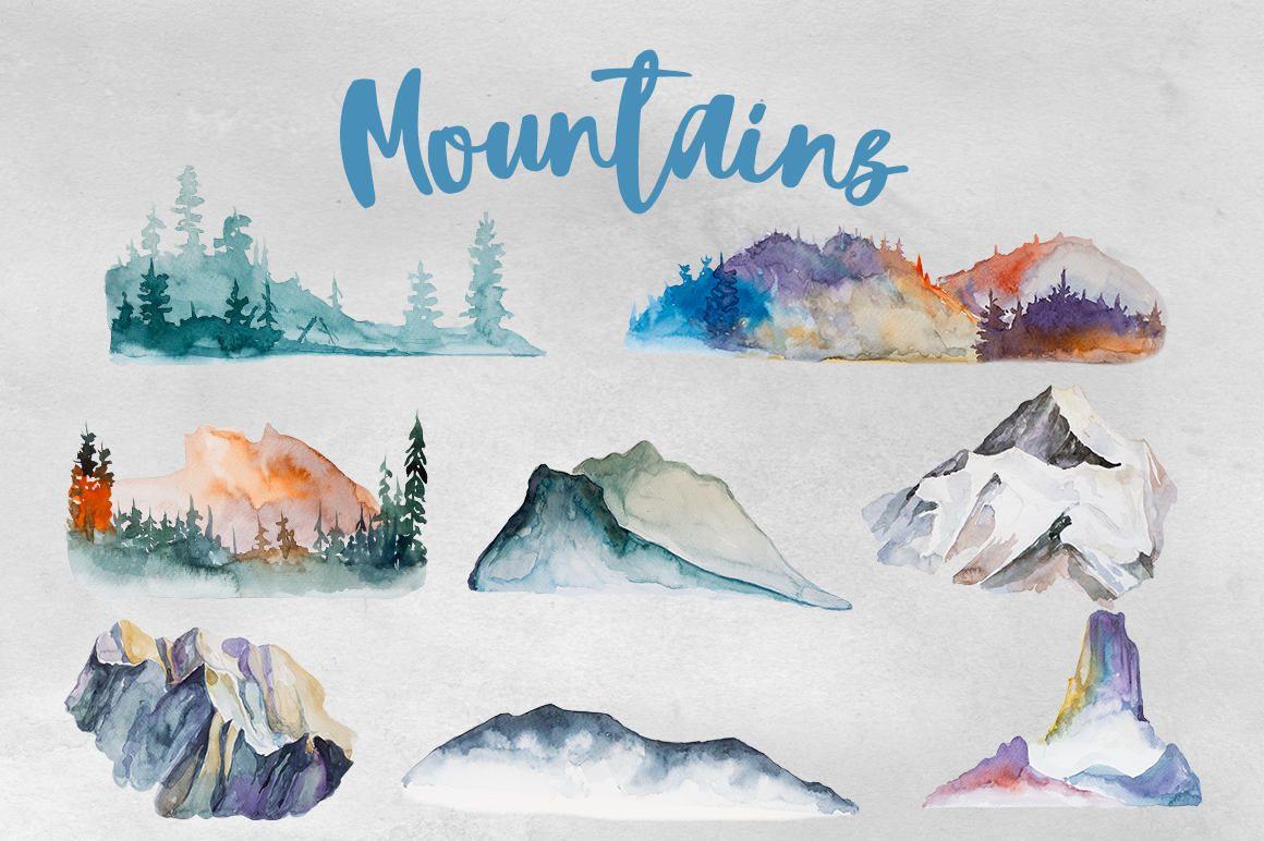 Aquarell berge set camping. Mountains clipart watercolor