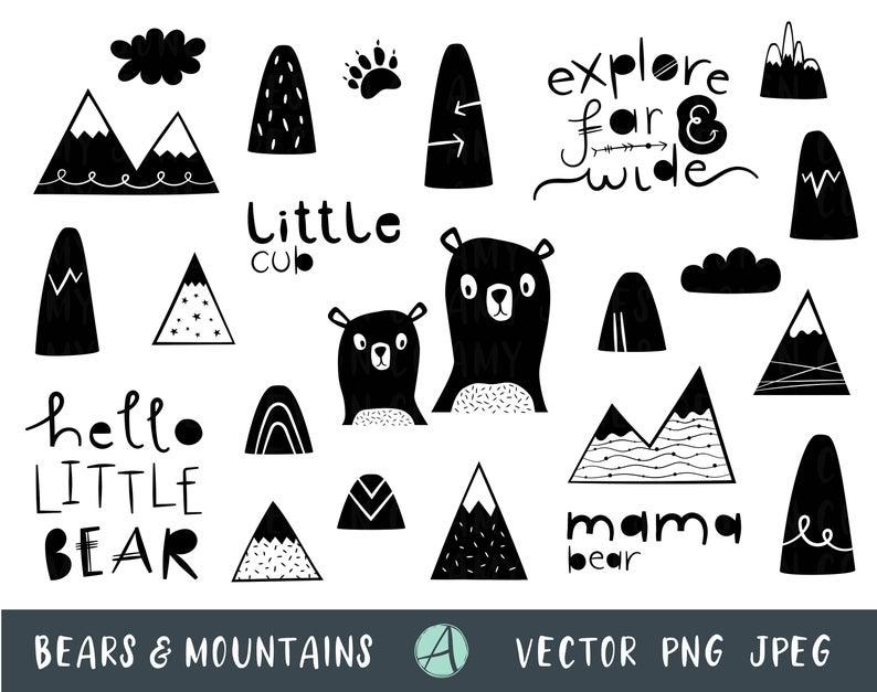 Woodland clipart mountain. Monochrome wilderness clip art