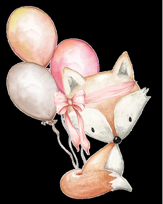 Fox with balloons duvet. Mountains clipart boho