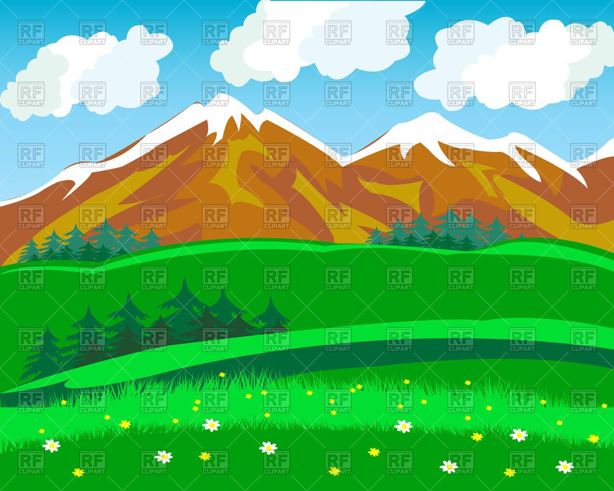 Mountains clipart mountain landscape. Summer in vector image