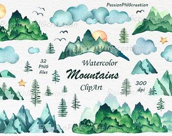 Mountains clipart mountain scenery. Etsy