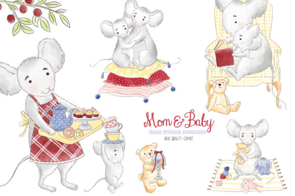 Mother and me . Mouse clipart woodland