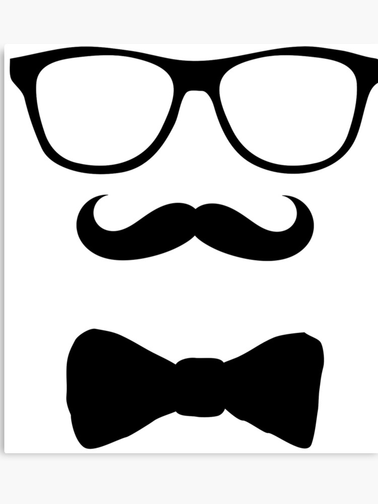 Moustache clipart bow tie. Mustache glasses canvas print