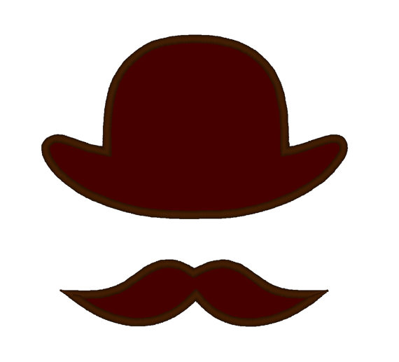 Mustache applique instant by. Moustache clipart bowler hat