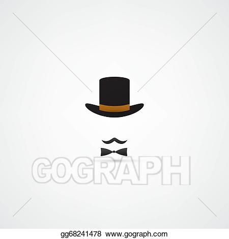 Moustache clipart bowler hat. Vector stock and clip