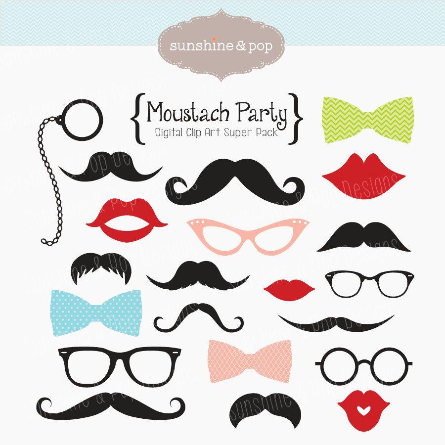 Moustache clipart diy. Instant download mustache party