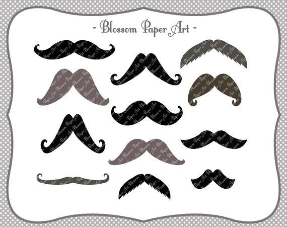 Moustaches digital printable party. Moustache clipart diy