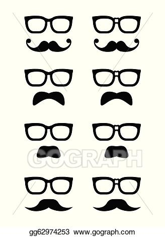 Moustache clipart geek glass. Vector art glasses and